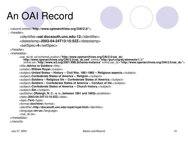An OAI Record