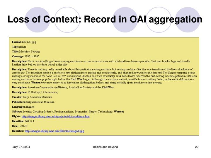 Loss of Context: Record in OAI aggregation