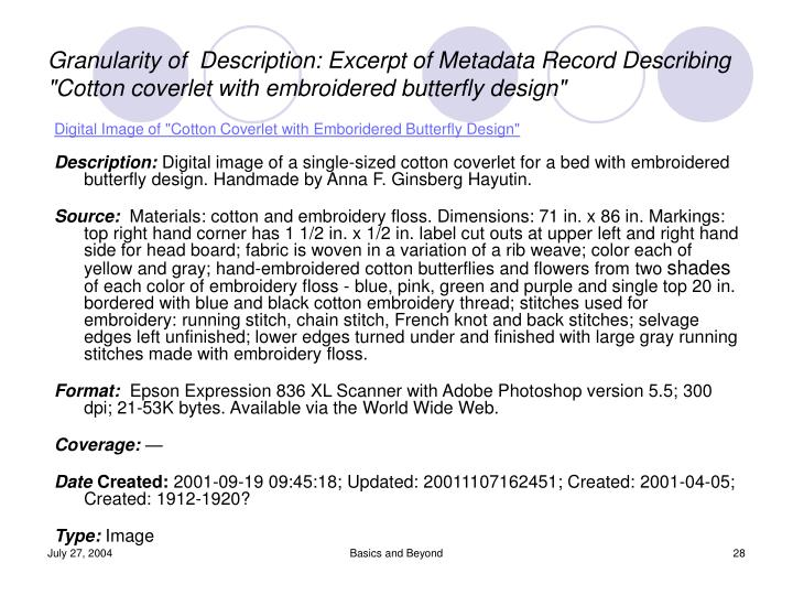 """Digital Image of """"Cotton Coverlet with Emboridered Butterfly Design"""""""