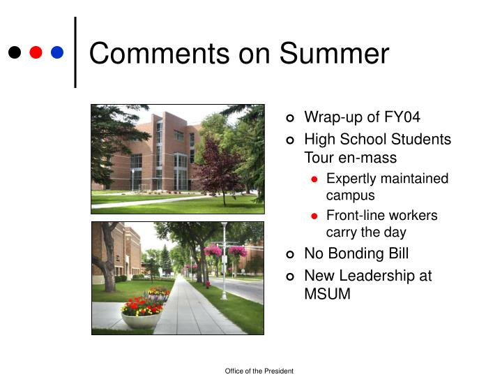 Comments on summer