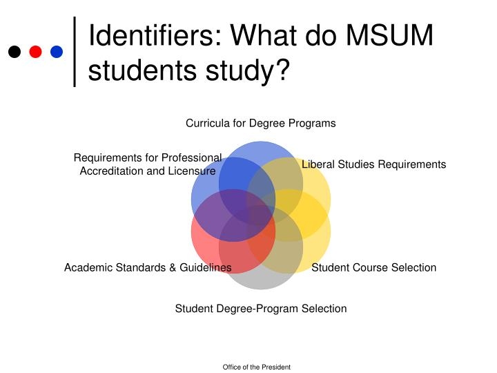 Identifiers: What do MSUM students study?