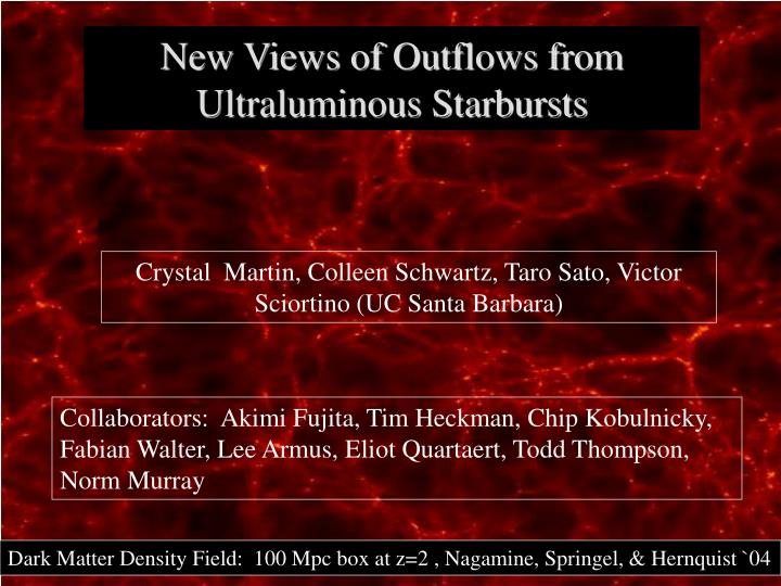 new views of outflows from ultraluminous starbursts n.