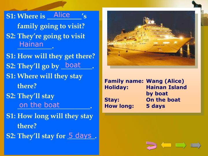 Family name:	Wang (Alice)