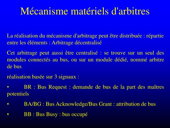 Mécanisme matériels d'arbitres