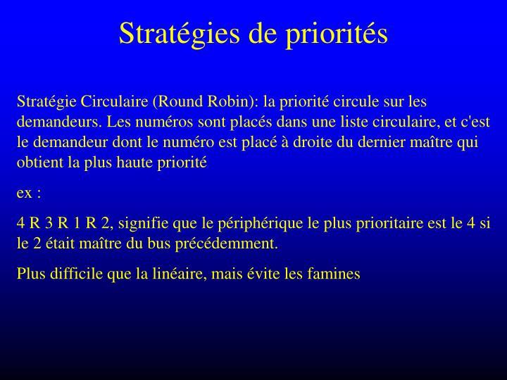 Stratégies de priorités