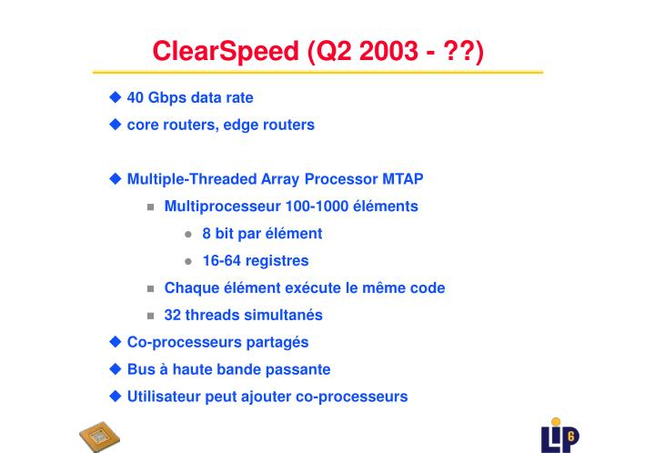 ClearSpeed (Q2 2003 - ??)