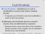 cash dividends
