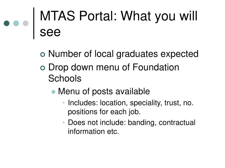 MTAS Portal: What you will see
