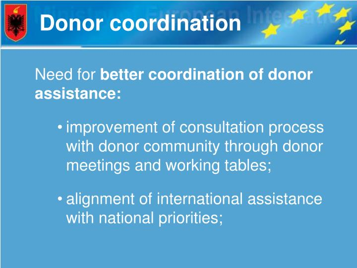 Donor coordination