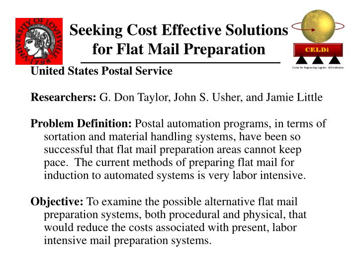 Seeking Cost Effective Solutions for Flat Mail Preparation