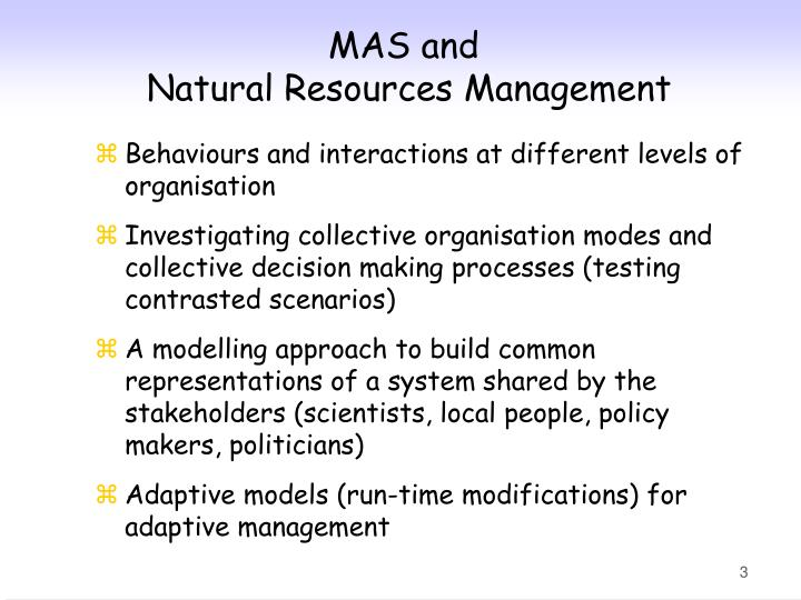 Mas and natural resources management