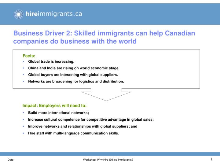 Business Driver 2: Skilled immigrants can help Canadian companies do business with the world