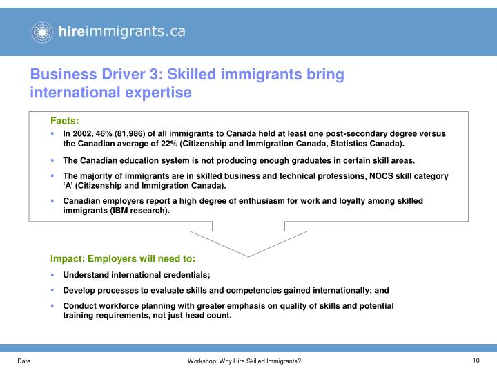 Business Driver 3: Skilled immigrants bring