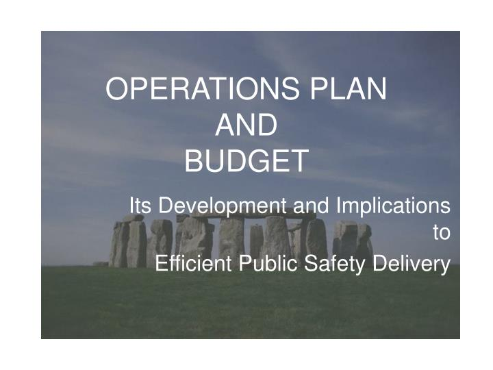 operations plan and budget n.
