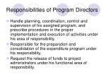 responsibilities of program directors