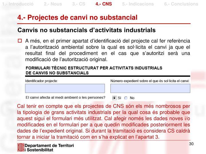 4.- Projectes de canvi no substancial