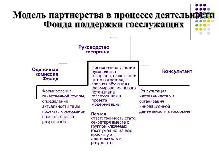 Модель партнерства в процессе деятельности Фонда поддержки госслужащих