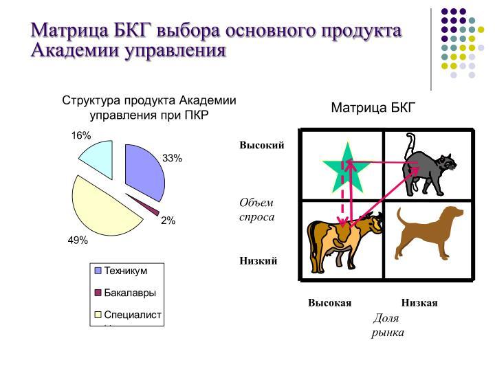 Матрица БКГ выбора основного продукта Академии управления