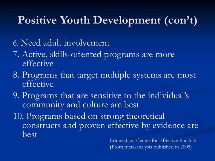 Positive Youth Development (con't)