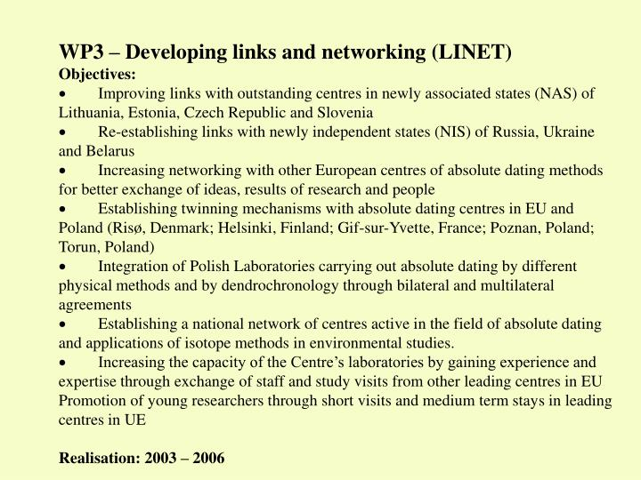 WP3 – Developing links and networking (LINET)