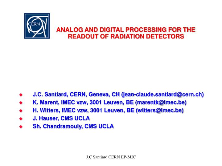 analog and digital processing for the readout of radiation detectors n.