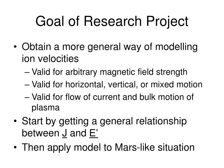 Goal of Research Project