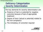 deficiency categorization severity determination