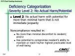 deficiency categorization severity level 2 no actual harm potential