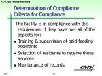 determination of compliance criteria for compliance