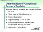 determination of compliance synopsis of regulation