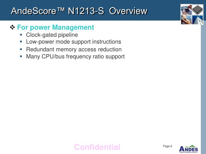 AndeScore™ N1213-S  Overview