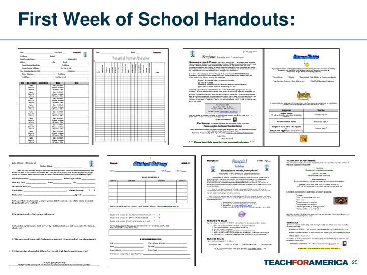 First Week of School Handouts: