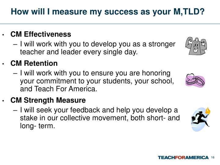 How will I measure my success as your M,TLD?