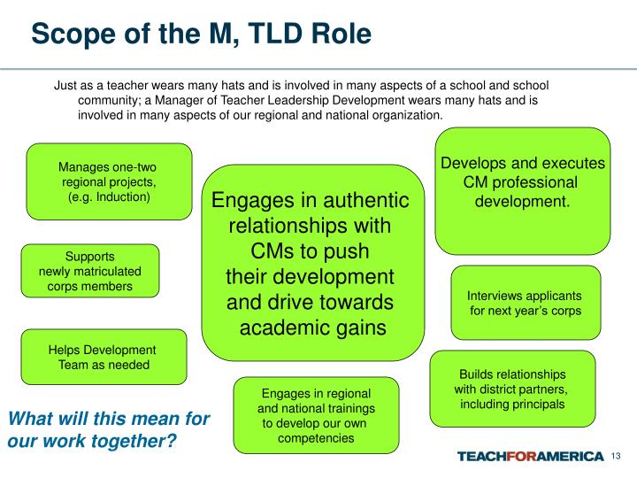 Scope of the M, TLD Role