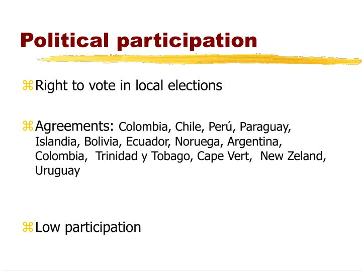 political participation Political participation : political participation is the opportunity for large number of citizens to participate in politics and is a pre-requisite for democracy.
