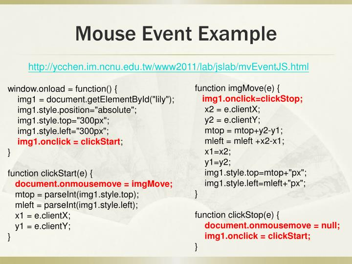 Mouse Event Example