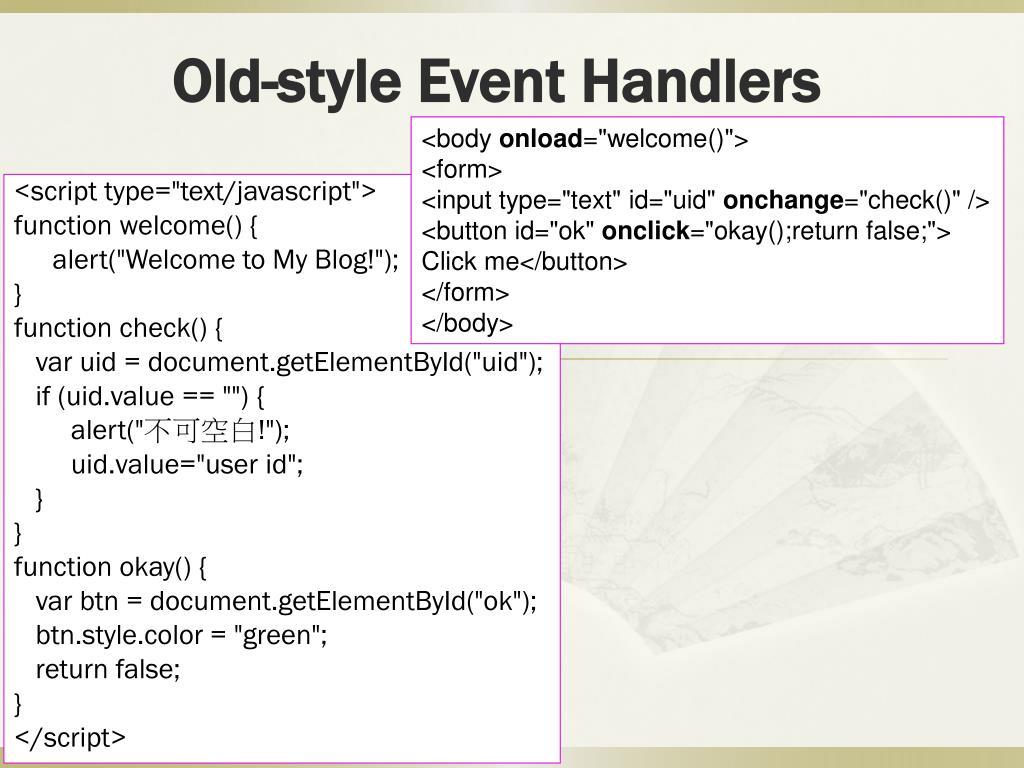 PPT - JavaScript Events PowerPoint Presentation - ID:4377441