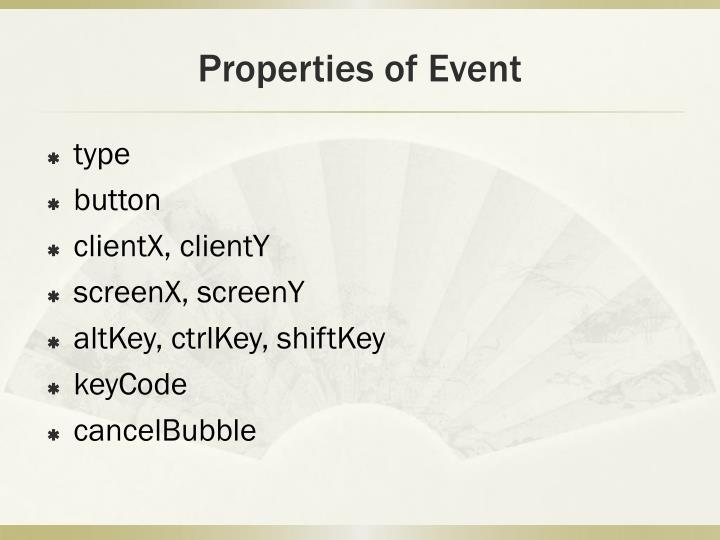 Properties of Event