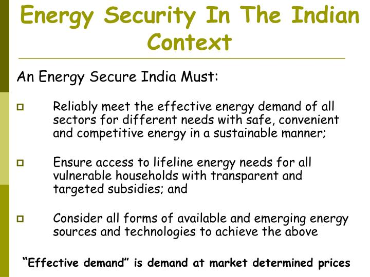 energy security in the indian context n.