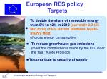 european res policy targets