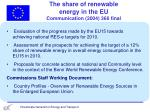 the share of renewable energy in the eu communication 2004 366 final