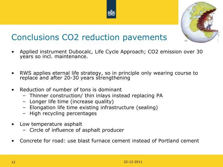 Conclusions CO2 reduction pavements