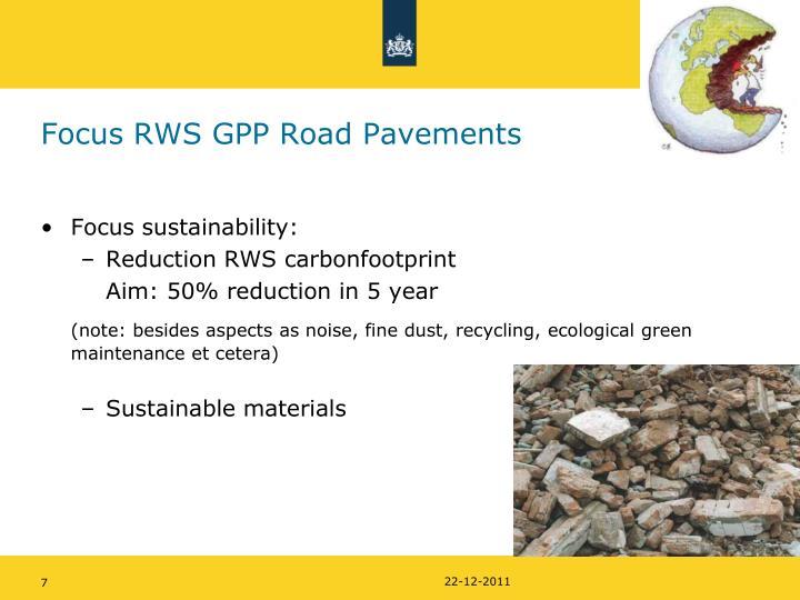 Focus RWS GPP Road Pavements