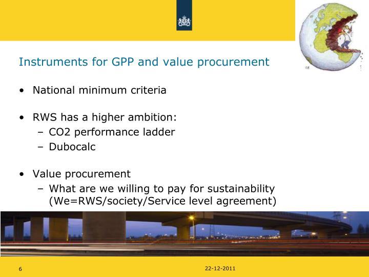 Instruments for GPP and value procurement