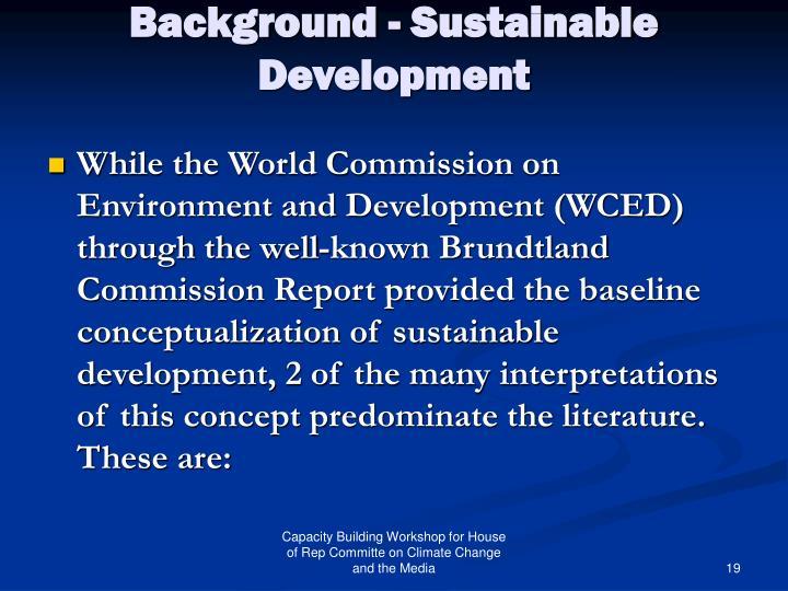 Background - Sustainable Development