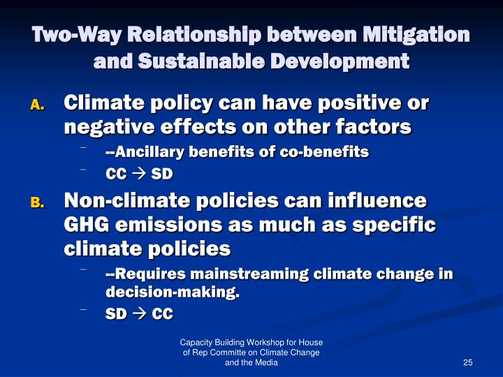 Two-Way Relationship between Mitigation and Sustainable Development