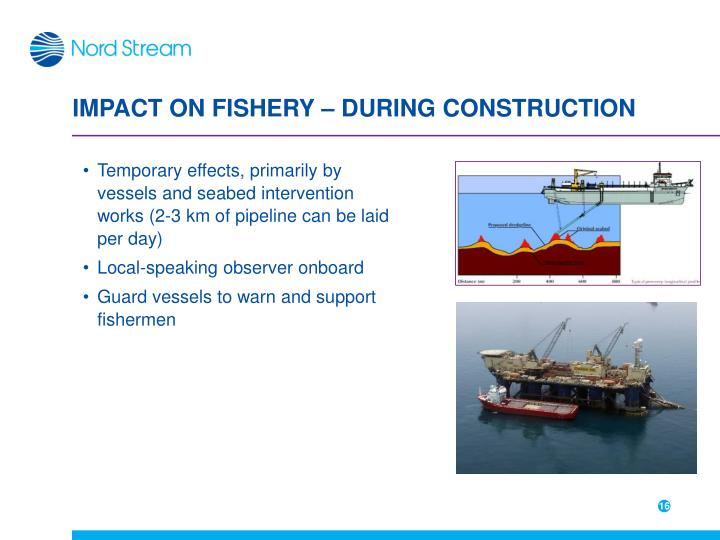 IMPACT ON FISHERY – DURING CONSTRUCTION