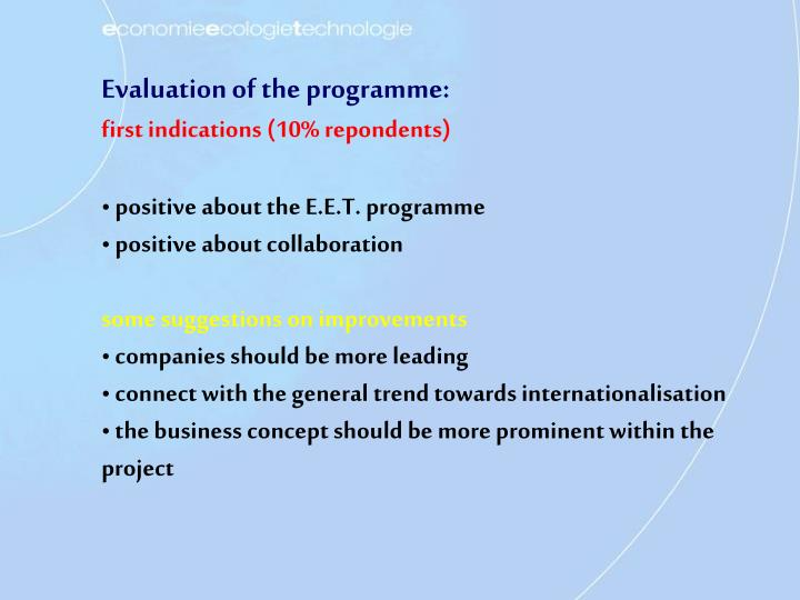 Evaluation of the programme: