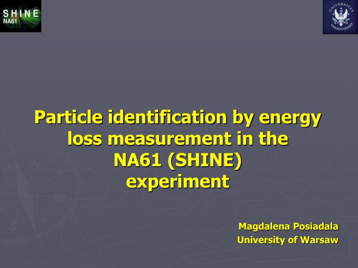 particle identification by energy loss measurement in the na61 shine experiment n.