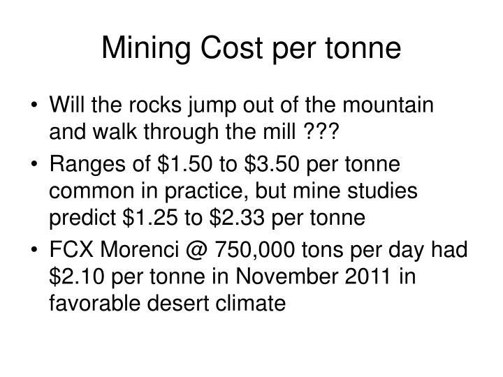 Mining Cost per tonne